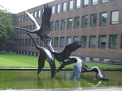 'Swans in Flight' sculpture, David Wynne (1968), Newcastle Civic Centre, Newcastle (Identity in Newcastle) Tags: sculpture art norway finland newcastle denmark iceland poetry sweden swans publicart metaphor scandinavia northeast symbolism nationalidentity newcasatleciviccentre seedorfpedersen newcastlesscandinavianlinks politicalheritage historicallinks internationalidentity