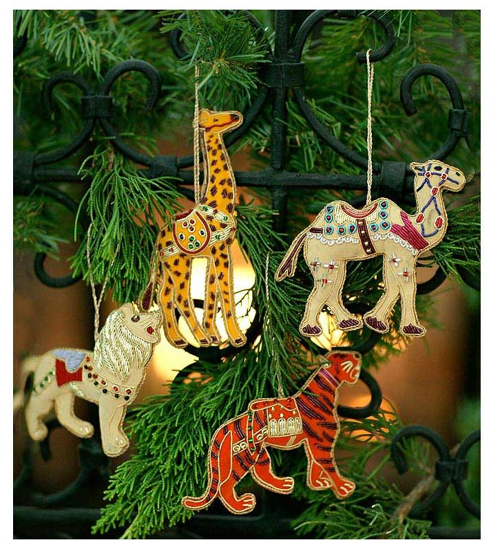 Hand Embroidered Safari Christmas Ornaments, Set of 4~Free Pouch