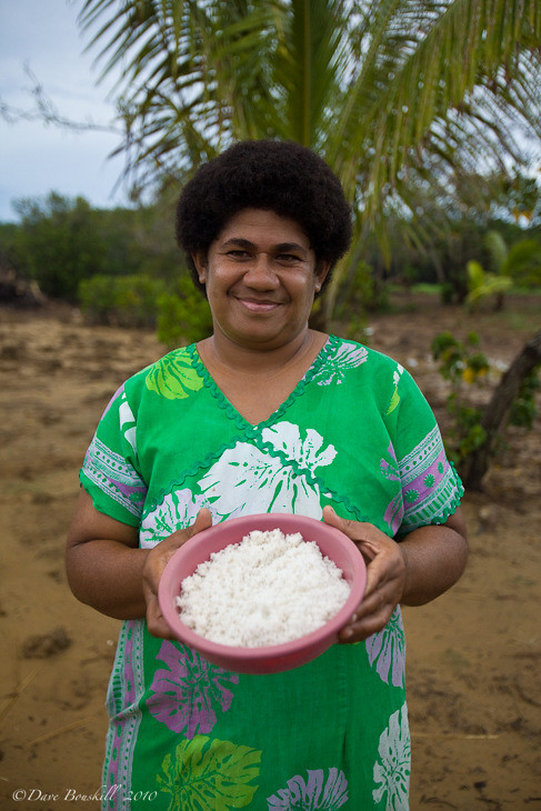 fijian woman at salt factory