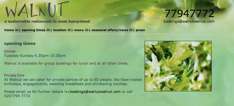 Restaurant website contact