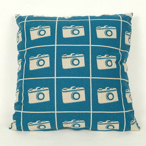 Echino Cushion Camera Blue