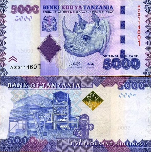 5000 Šilingov Tanzánia 2010(11)