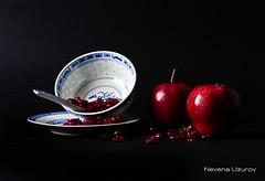 Nevena Uzurov - Still life (Nevena Uzurov) Tags: china blue light red stilllife white fruits composition europe dish serbia plate spoon cranberry apples porcelain vojvodina srbija onblack sremskamitrovica srem      venkane       nevenauzurov   elitegalleryaoi