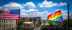 2017.07.02 Rainbow and US Flags Flying Washington, DC USA 7210