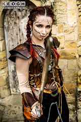 IMG_9479-Edit_pp.jpg (Neil Keogh Photography) Tags: silver whitbygothweekend steampunk sword shoulderguards viking brown steampunkdress armguards red warrior goth armour blouse whitby top female woman whitbygothicweekendapril2017 facepaint black gothic trousers leather waistcoat white