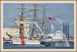 The arrival of the Coast Guard cutter Eagle.