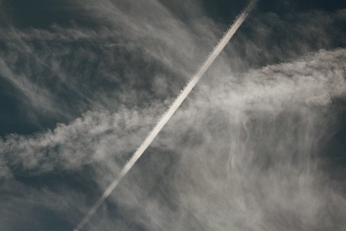 Persistent contrails with shadow