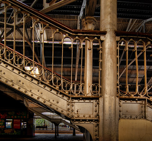 The iron staircases in the Colombo, Sri Lanka, train station are simply beautiful.