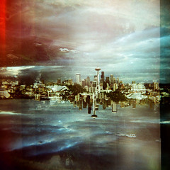 Alive in the Twice Unknown (katherine lynn) Tags: seattle washington holga crossprocessed doubleexposure fv10 spaceneedle kerrypark cityskyline e100g 1000faves tumblr