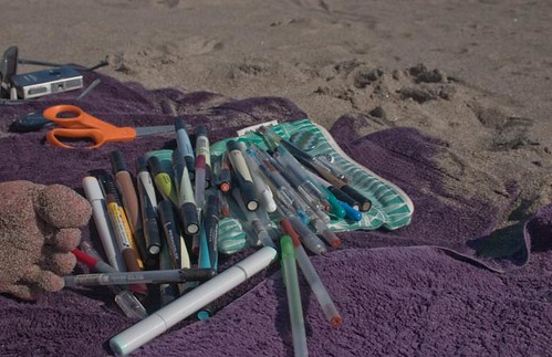 My sandy foot and crafting/drawing tools
