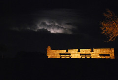 Lightning over Castillo de San Marcos (Greg Foster Photography) Tags: america matanzas bay fort sky clouds long exposure bench national state park castle castillo masonry military night nighttime thunder lightning staugustine coquina fortress european spanish matanzasbay silhouette silhouettes abandoned abandonment decay decayed coastal bahia building buildings architecture