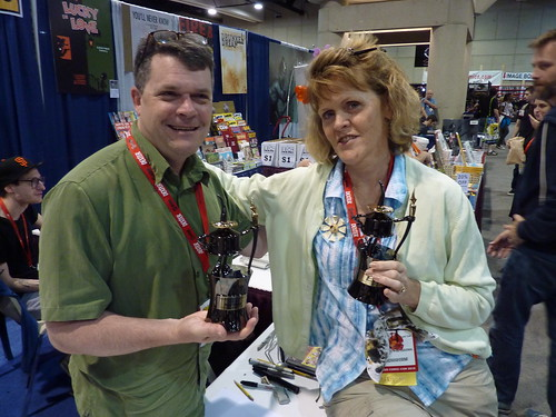 Peter Bagge & Carol Tyler with their Inkpot trophies - Fantagraphics at Comic-Con 2010