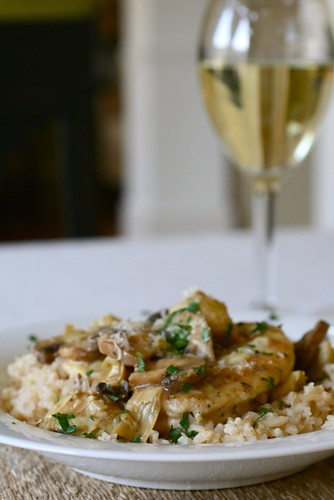 Chicken and Artichokes in a White Wine Sauce