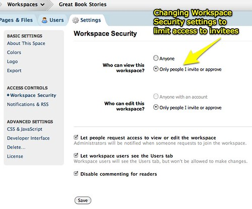 Changing PBworks workspace security settings