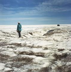 it's like we never met (hurtingbombz) Tags: 120 6x6 ice girl iceland solitude kodak glacier bronica mf portra f28 80mm langjökull 160nc sqai zenzanon rückenfigur ps80