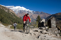 Mountain biking in Lower Mustang, Nepal (The Great Himalaya Trail) Tags: nepal people mountains alex trekking trek walking trekkers snowcapped adventure experience geography himalaya thrill treadway greathimalayatrail thegreathimalayantrail wwwthegreathimalayatrailorg