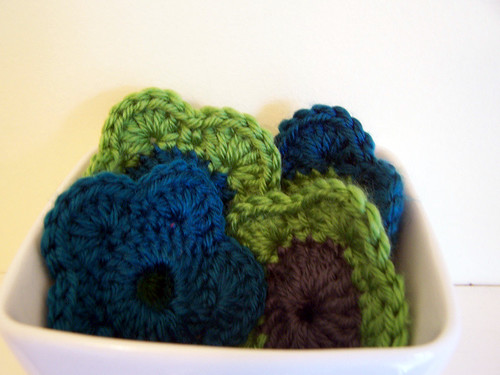 Crocheted Flowers in White Bowl