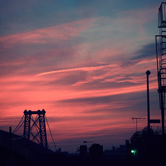 tonight's sunset. (Vitaliy P.) Tags: new york city bridge pink blue light sunset red sky building green film brooklyn clouds stairs square lens fire 50mm nikon escape f14 silhouettes crop williamsburg gothamist manual ais d80 vitaliyp gettysubmitted alwayssaveforweb