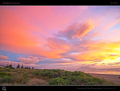 Dreaming Of That Distant Island (tomraven) Tags: trees sunset sea sky sun beach clouds landscape island dunes dream land hdr kapitiisland hemispheres otakibeach beavh colorphotoaward distantisland artofimages bestcapturesaoi q32010 tomravenaravenimage