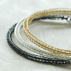 Trio bangles in white silver Gold and oxidized silver (YooLaDesign) Tags: white metal trois silver gold grey three hand crochet gray jewelry her wires round bracelets wrist trio etsy hoops bangles yoola