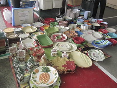 our booth neighbor, assorted ceramic plates and bowls
