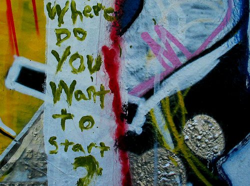 graffiti on a post: where do you want to start?