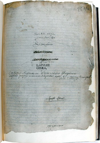 Title page of Lucius Apuleius Madaurensis' 'Opera'. Sp Coll Bn6-d.1.