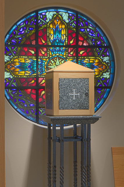 Christian Brothers College High School, in Town and Country, Missouri, USA - tabernacle and rose window in chapel