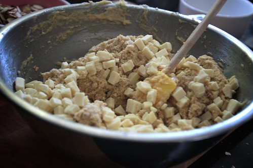 mixing in white chocolate