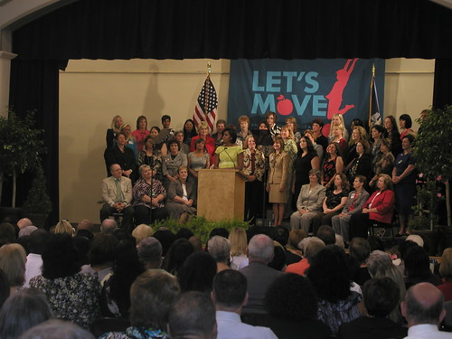 First Lady Obama praises schools for improving child nutrition.