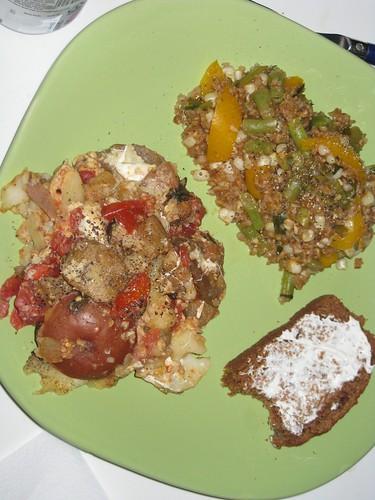 Eggplant casserole, wheat succotash, peach bread