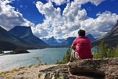 Man & Nature! (Pulok Pattanayak) Tags: blue sky usa clouds us nationalpark montana mt glaciernationalpark stmarylake sunpoint superaplus aplusphoto sunpointnaturetrail