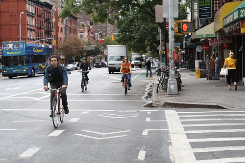 Cyclists in bike lane