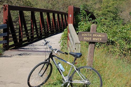 Trek at Bridge Along Preston Harmony Trail in MN
