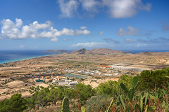 Elevated view of Vila Baleira, Porto Santo, Madeira, Portugal (**Anik Messier**) Tags: summer holiday portugal landscape island aerialview shore viewpoint madeira archipelago portosanto vilabaleira artistpicks gettyvacation2010 portelaviewpoint