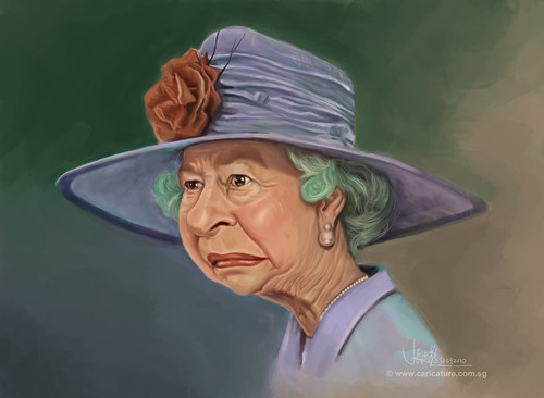 digital caricature of Queen Elizabeth II