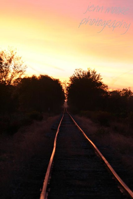 railroad with sun rise