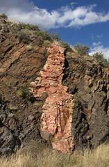 Pegmatite Dike (Ron Wolf) Tags: rock colorado rockymountains geology dike petrology earthscience schist intrusion pegmatite gneiss goldengatecanyon metamorphism proterozoic