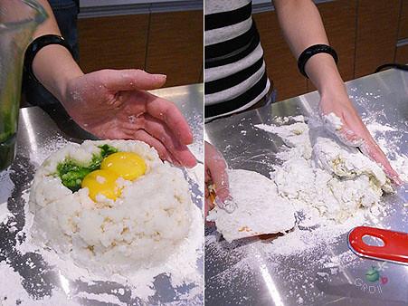 馬鈴薯麵疙瘩 攪和中