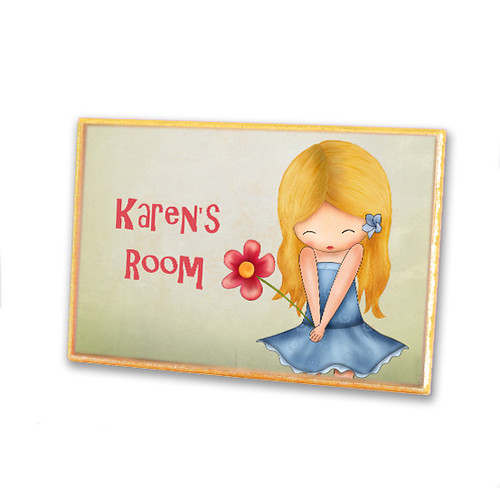 Personalized wooden door plaque sign for girls bedroom or nursery decor- For You (blond haired girl)