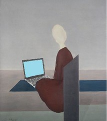 Seated Woman Blogging, after Albert Reuss
