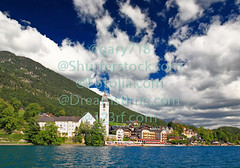 The beautiful St. Wolfgang in Lake district (gary718) Tags: blue summer vacation sky house mountain lake flower salzburg green castle church window clouds swim landscape austria countryside boat town europe tour village district decoration peaceful sunny tourist lakeside residence reflexion wolfgang wolfgangsee