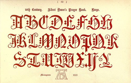 020- Siglo XVI Alberto Durero-Mayusculas- The book of ornamental alphabets, ancient and mediaeval..1914-F. Delamotte