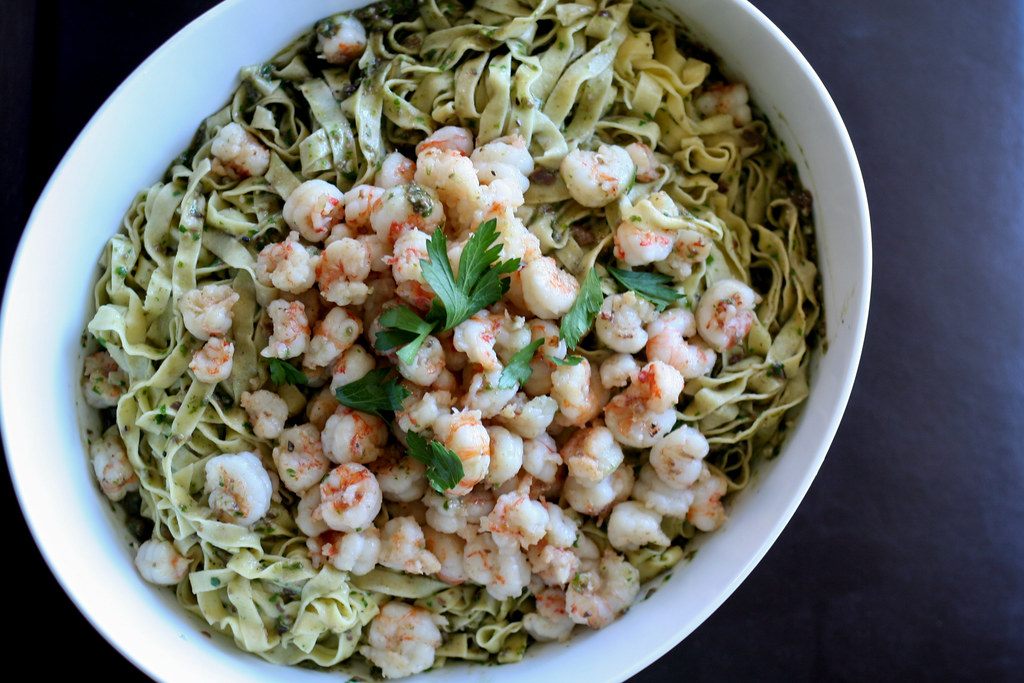 Fettuccine with Arugula Olive Pesto & Shrimp