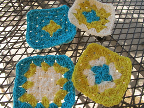 Granny square coasters to be felted