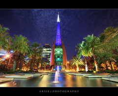 The Bell Tower   Home of the Swan Bells, Perth :: HDR (:: Artie   Photography ::) Tags: architecture modern night photoshop canon lights landscapes bell tripod australia wideangle belltower musical perth ef 1740mm westernaustralia hdr artie cs3 3xp f4l photomatix tonemapping tonemap swanbell 5dmarkii 5dm2