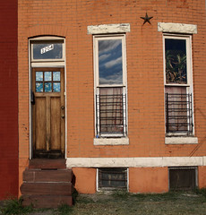 It's a Beautiful Day (cormend) Tags: street sky house color reflection window grass clouds canon eos stripes shapes maryland row baltimore neighborhood step stoop waverly rowhouse 50d cormend