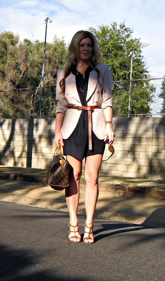 belted blazer+LAMB shoes+louis vuitton speedy