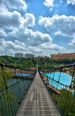 The Bridge, Sunway Lagoon Theme Park, Petaling Jaya, Malaysia (eshare) Tags: wood bridge sky cloud lake pool clouds landscape persian pond towers bridges basin malaysia pj amusementpark iranian kualalumpur kl suspensionbridge hdr highdynamicrange themepark petalingjaya iranians selangor persians ropebridge sunwaylagoon    hdrfromasingleraw    sunwayuniversitycollege bandarsunway sal20f28 dynamicphotohdrsoftware dphdr   sonyalpha20mmf28lens   sonyalphadslra900 2028  900   lagoonviewcondominium  dphdrsoftware
