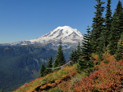Rainier and fall colors on Shriner Peak trail.
